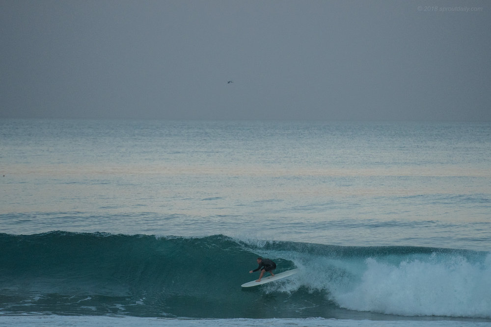 Matt finessing 9 feet of foam under the lip