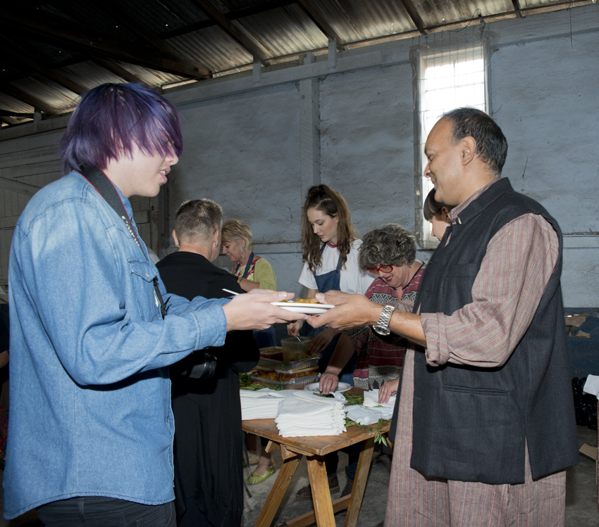 A humble Indian meal of consisting of rice, dhal and a vegetable curry was served to guests who came to the event