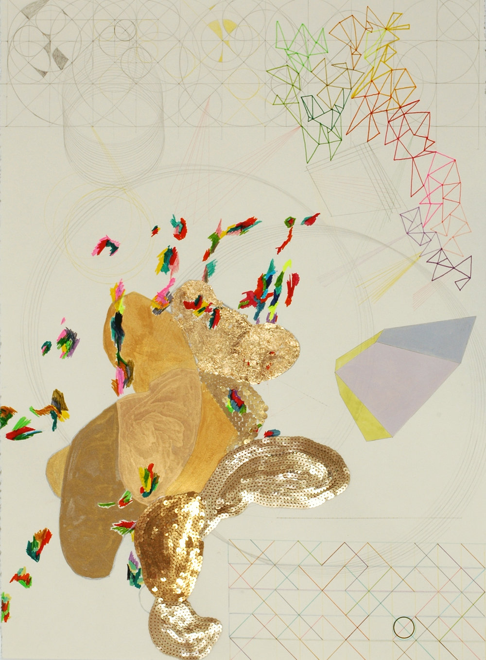 Phosphor    (   2007)    Japanese Watercolour, Acrylic Polymer, Gold Leaf, Texta Marker, Graphite, Pencil, Sequins on Stonehenge Paper,    76.5 x 56.5 cm