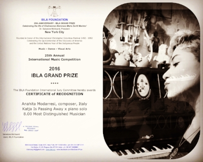 "Recipient of the 2016 ""IBLA Grand Prize"" Award in New York City"