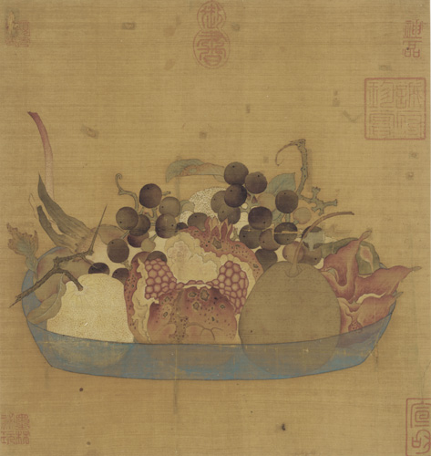 Ming Dynasty Silk Painting of Fruit in Blue Bowl, 27 cm h, 14th-17th c