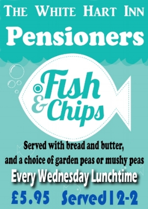 Every Wednesday... - Every Wednesday lunchtime between the hours of 12 - 2 we serve our Pensioners Fish and Chips! A great value meal with locally sourced fish, chips, bread and butter and a choice of mushy or garden peas.Why not come along and give it a try?
