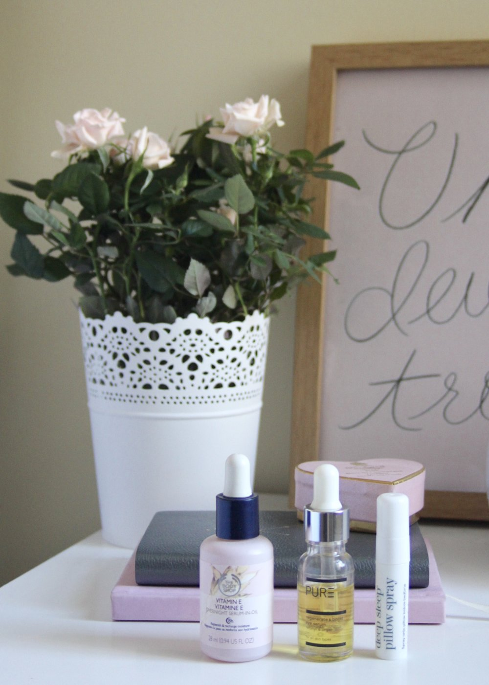 Bedside Skincare, Body Shop serum, Pure Spa eye serum, This Works pillow spray