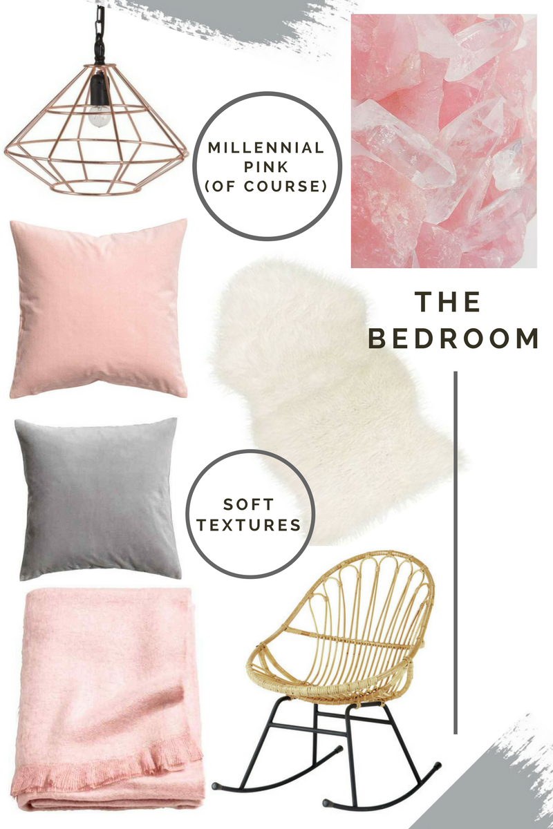 the style stories interiors moodboard bedroom pink and grey