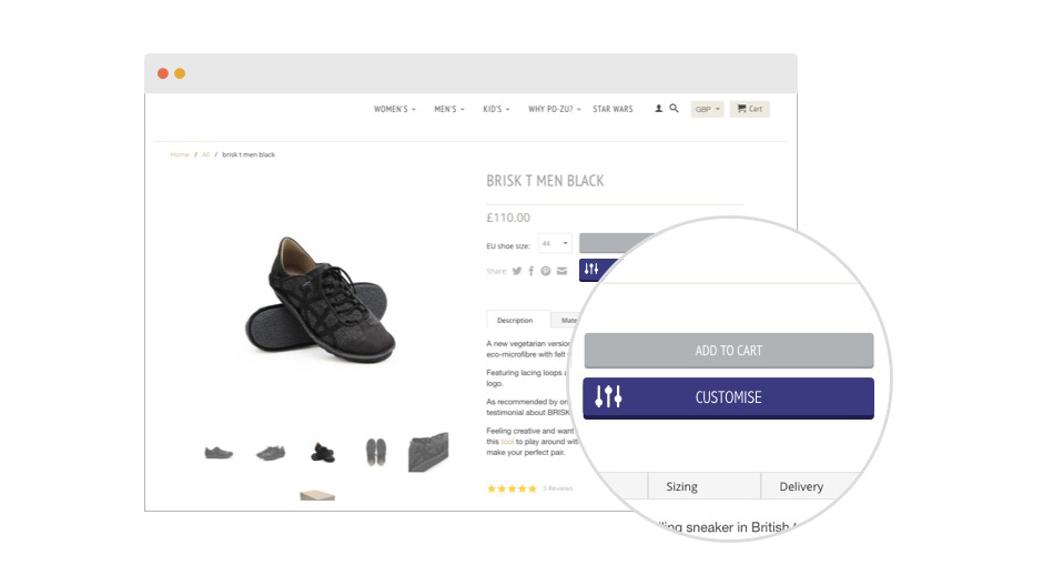Easy integration - A simple line of code to implement a frictionless customisation experience on any E-commerce platform.