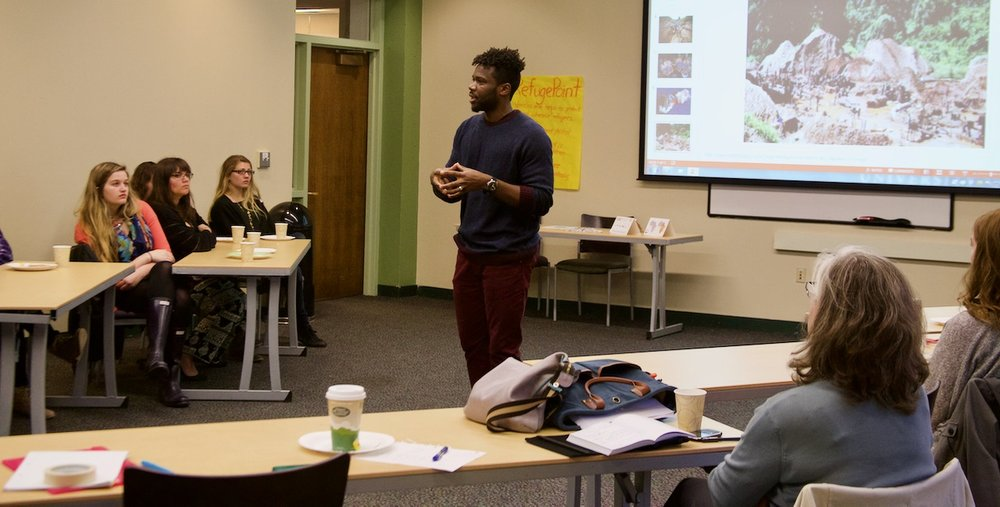 Deo leading a workshop at Clark University