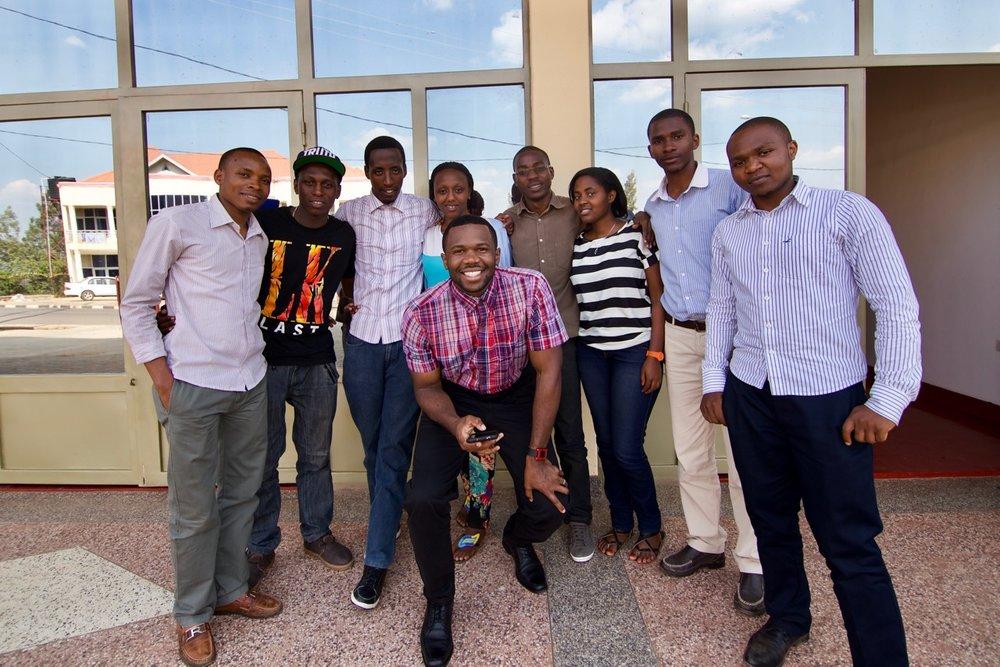 Deo with Kepler University students in Rwanda