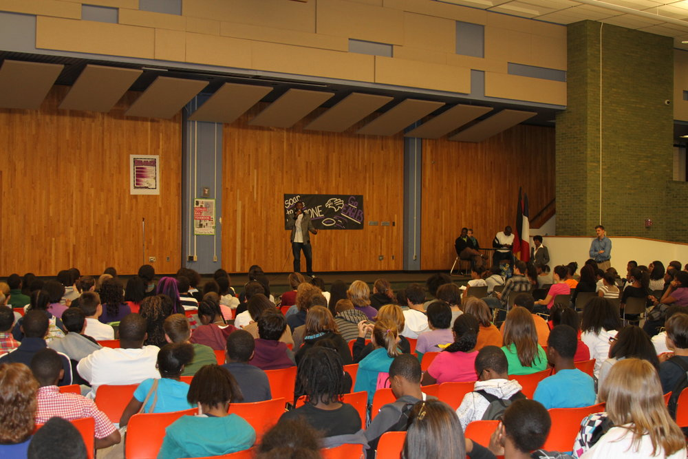 Deo sharing his story at a school in Pittsburgh, PA