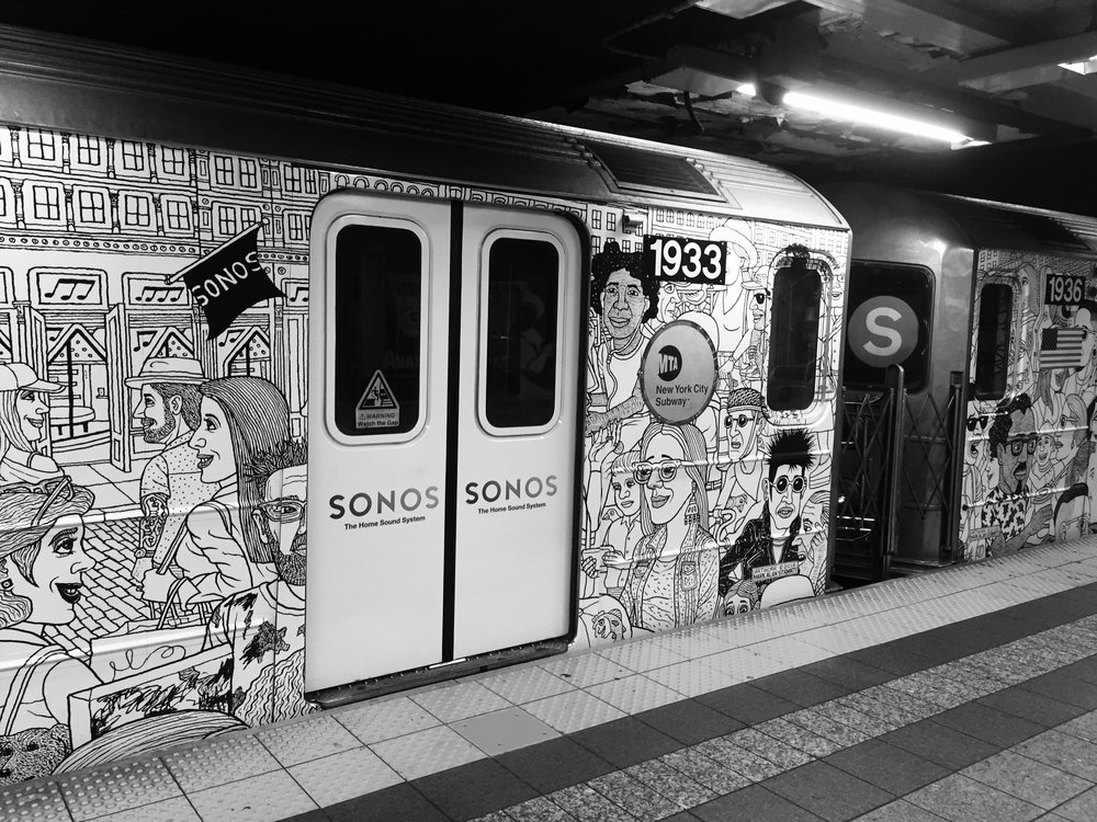 "Mark's recent work on the NYC subway (above) and a still of Joe Strummer as ""Elvis"" Johnny in Mystery Train (below)"