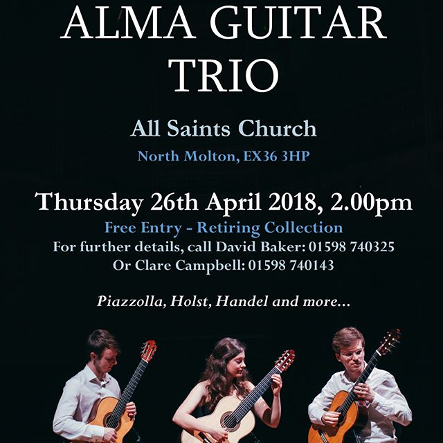 We're in North Devon and very much looking forward to these 3 concerts!! If you're about please come along! 😃  THURSDAY 26th at 2pm: All Saints Church, North Molton  FRIDAY 27th at 7pm: 150 Theatre, West Buckland School  SATURDAY 28th at 7pm: Holy Trinity Church, Barnstaple #almagt  #tour #classicalguitar #ensemble #music #guitar #trio #2018 #northdevon #northmolton #westbuckland #barnstaple