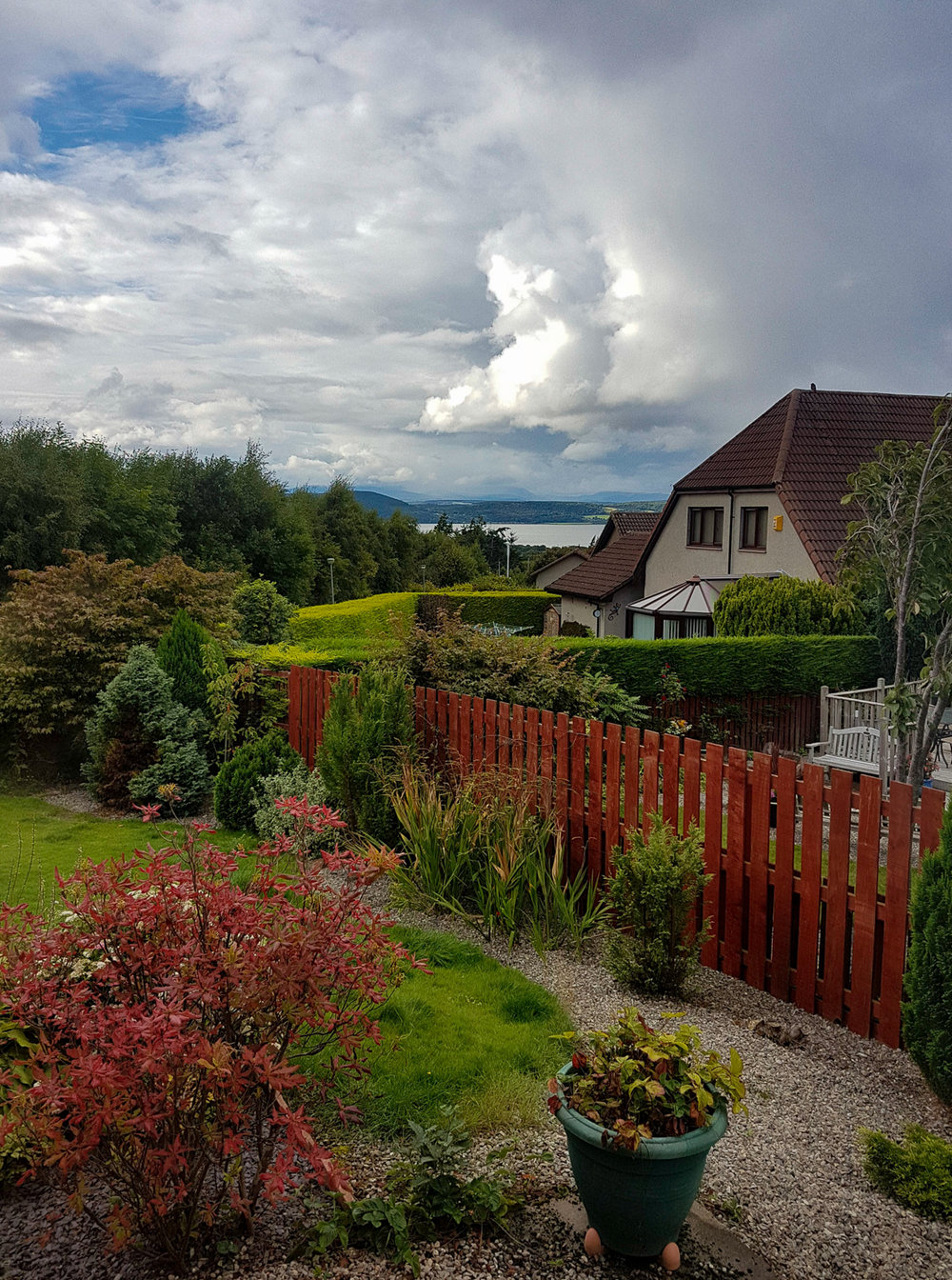 The view from our room at Helen's, over the firth and into the hills of Caledonia