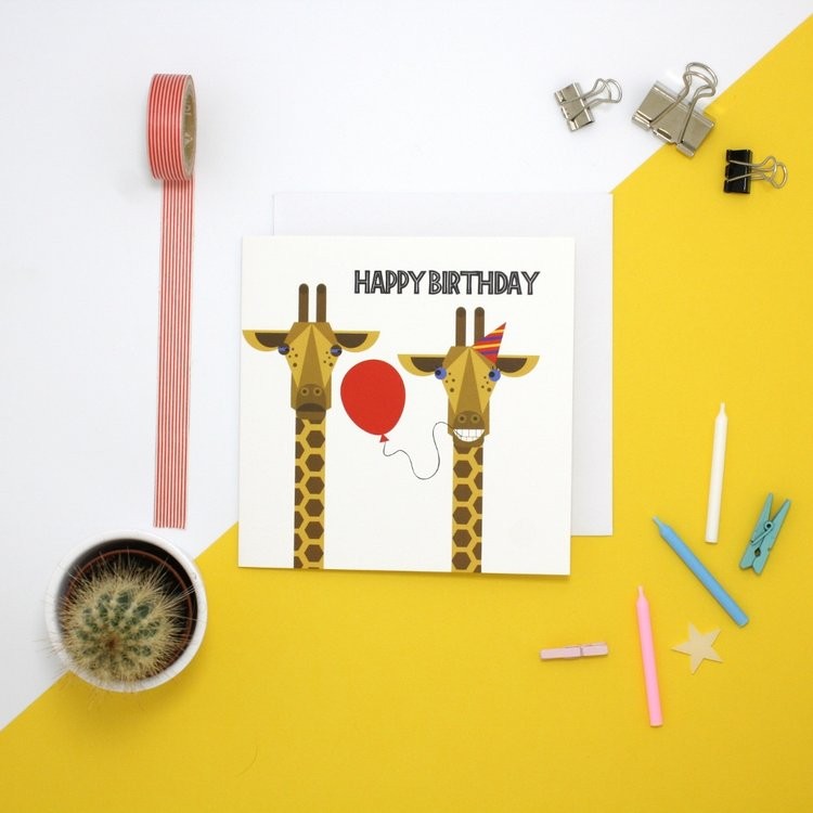 Jollysmith Giraffe Birthday Card