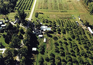 Aerial Image of Hackett's Orchard in South Hero Vermont