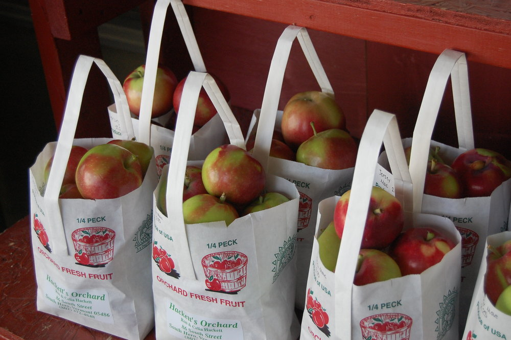 Apples for sale at Hackett's Orchard, the family grows about 50 varieties that ripen August through October.