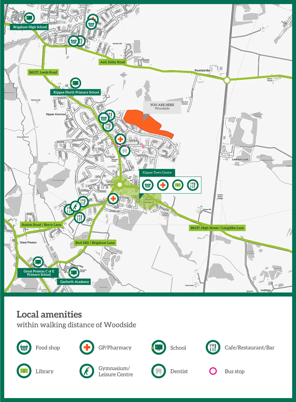 map of amenities within walking distance of woodside