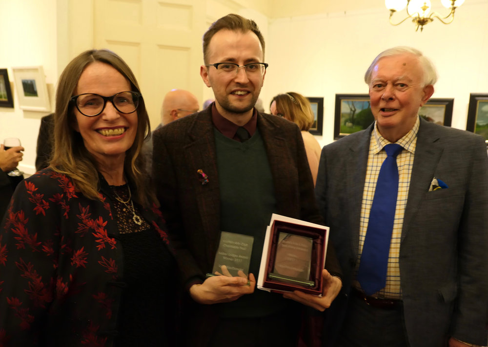 Short story award winner Iain MacDonald (centre) with Charilie Scott, chair of the scottish arts club charitable trust and short story director, sara cameron mcbean