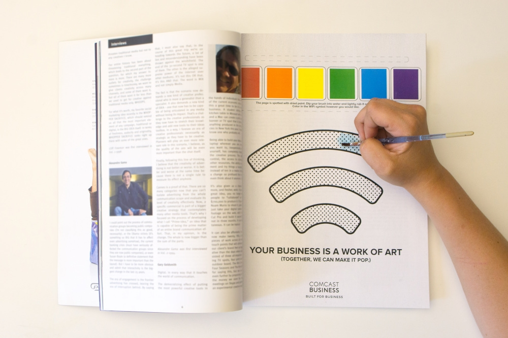 Print ad (Equipped with a paintbrush. Color in the WiFi sign with the paint on the ad.)