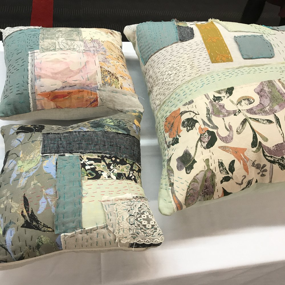 - Quilted Pillows with hand stitching. Made mostly of linen and scrap fabrics of original prints.