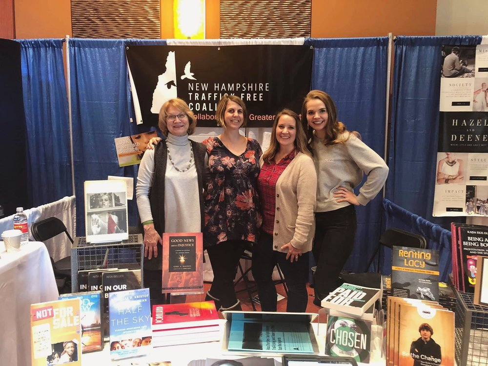 Jeanne Pride (Monadnock Hope), Marissa Furnanz, Bethanee Syverson and Elisa Johnson (NHTFC) at the GO Conference in February, 2019.