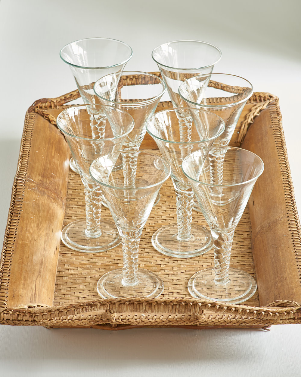 Vintage set of 8 wine glasses, $435