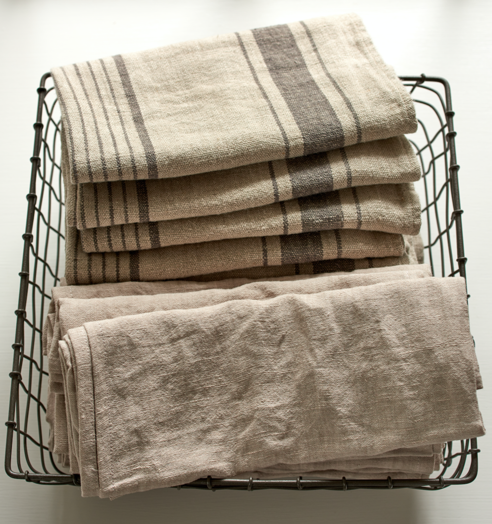 French linen tea towels, $25 each