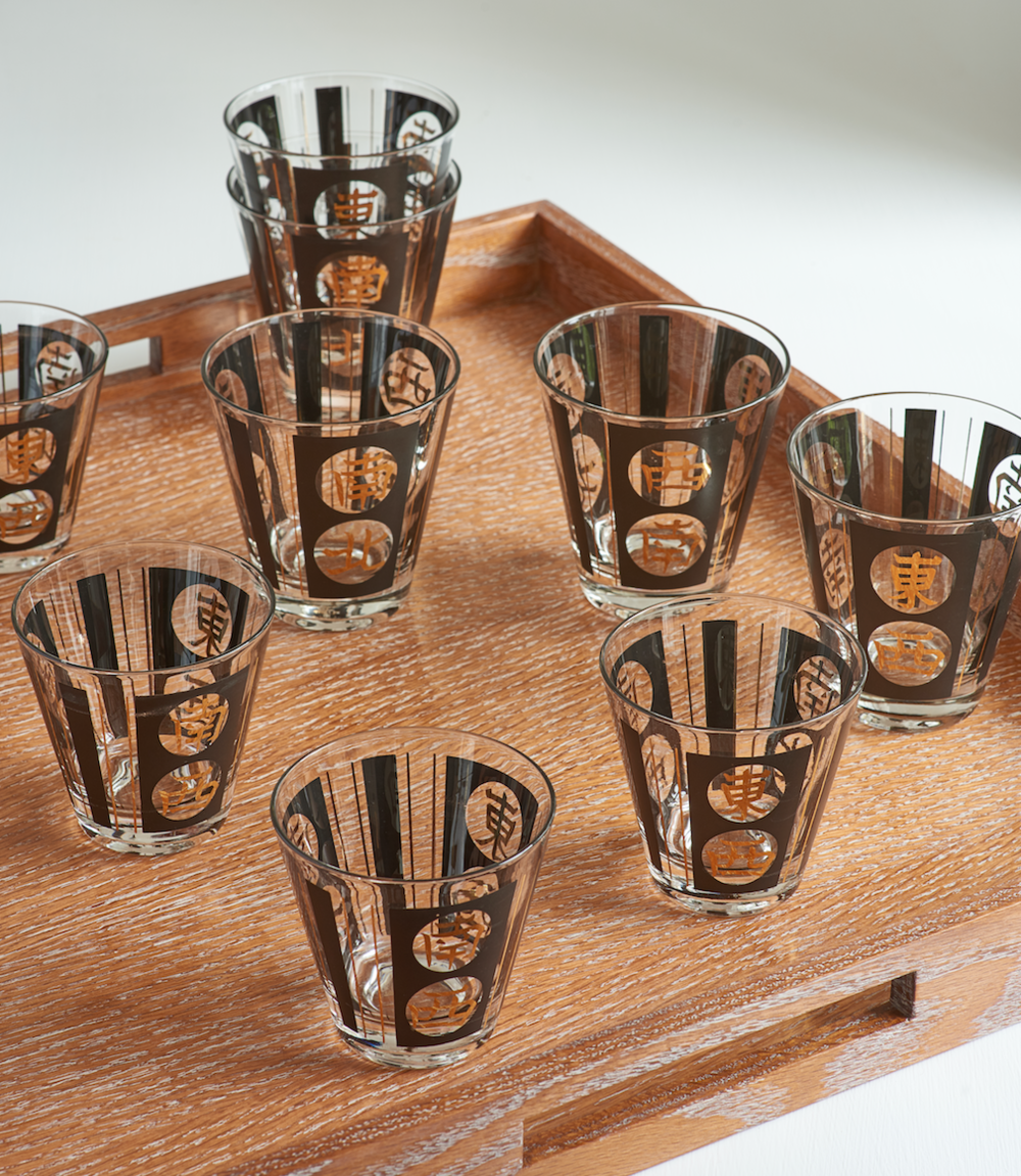 Vintage cocktail glass set, 8 rocks, 8 highballs, $435
