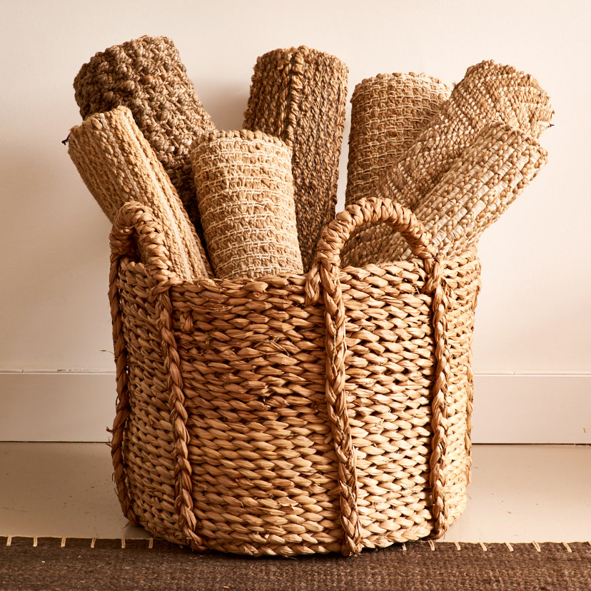 Indian jute rugs, from $75, hyacinth fiber basket, $300
