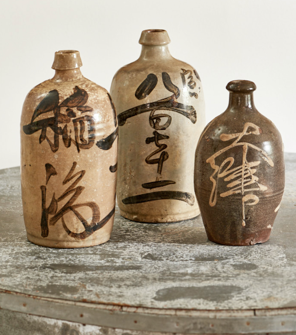 Antique Japanese sake bottles, $200 each