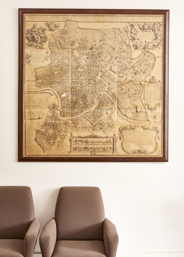 Map of Rome, mid-c reissue of a 1750's print, $2800