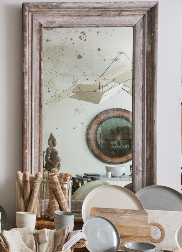 Whitewashed mirror with antique glass, $2800