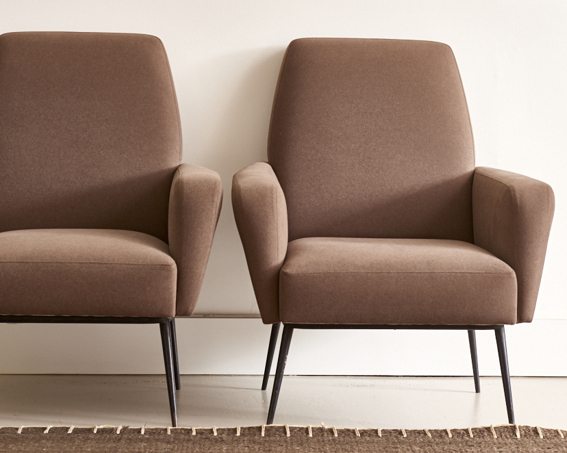French lounge chairs c. 1960, $4500, the pair
