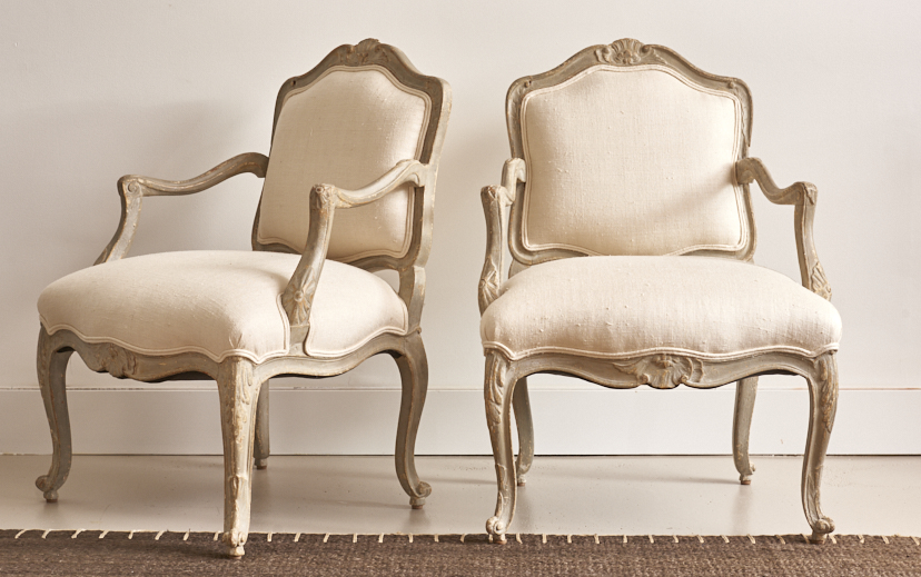 Painted French bergères upholstered in raw silk, c. 1940 $4500, the pair