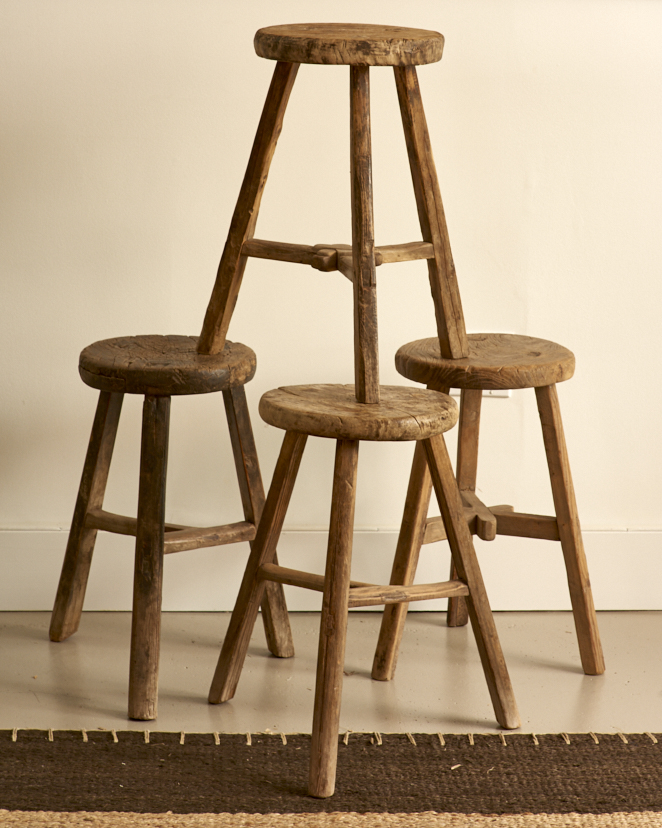 Primitive wooden stools, Chinese $400 each