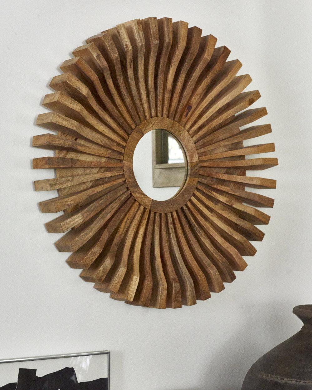 Wooden mid-century starburst mirror, $1800