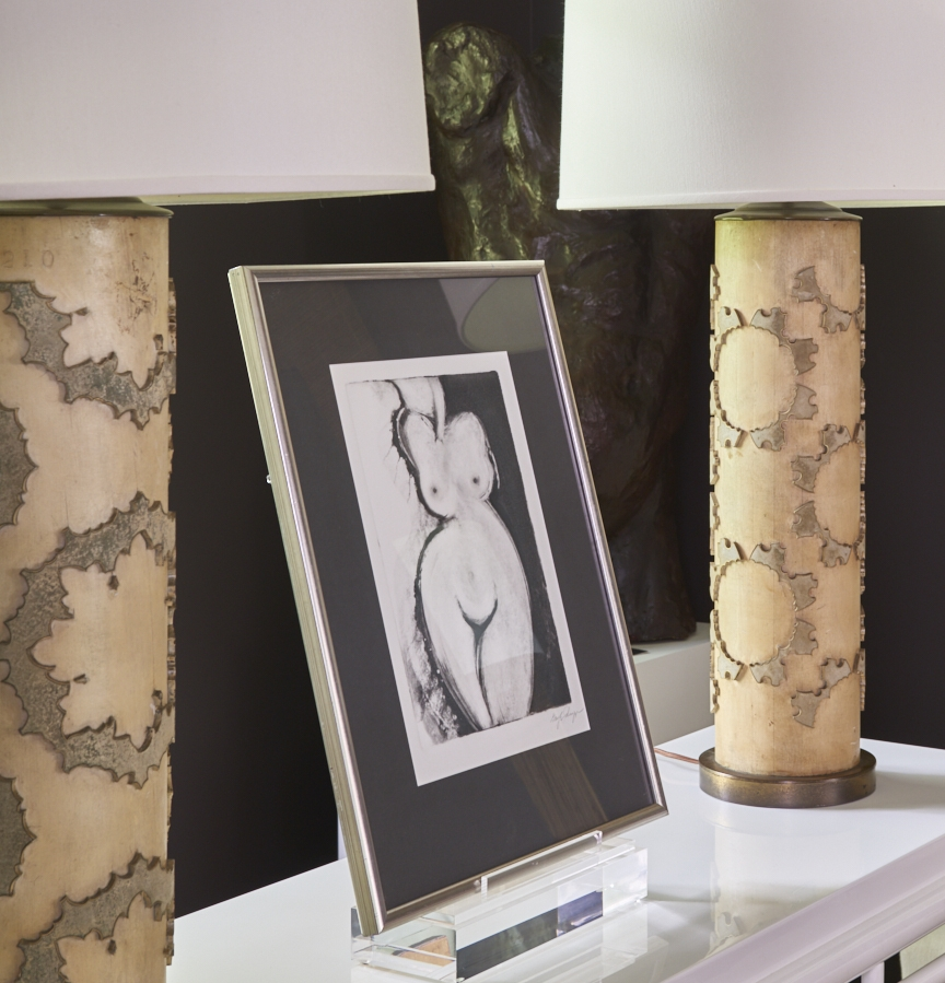 Wallpaper roller lamps, pair, c. 1950, $2800, black and white drawing,
