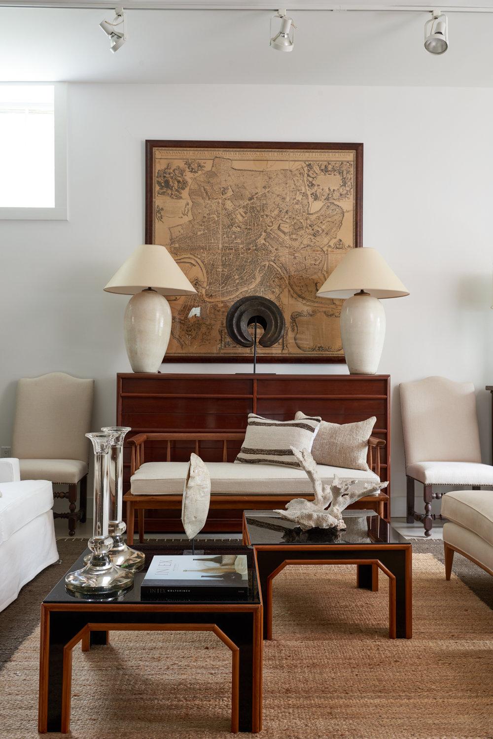 Dresser by TH Robsjohn-Gibbings c 1950, $5000, Pair ceramic Asian jar lamps, $2800