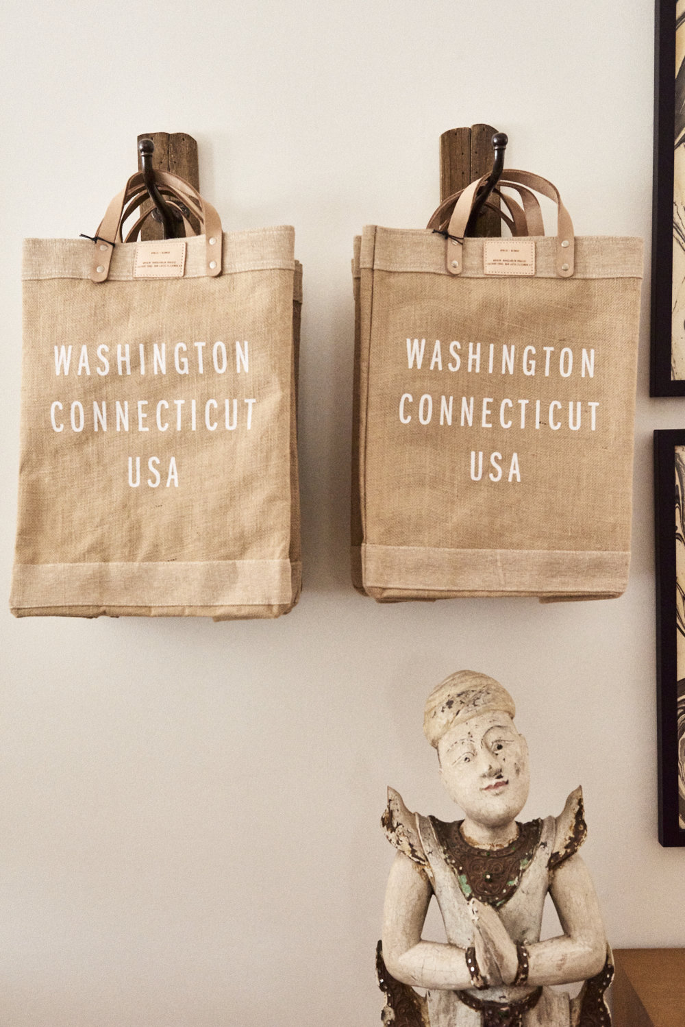 Burlap, leather Washington CT market bag (portion of proceeds go to  Bangladesh Project) $60