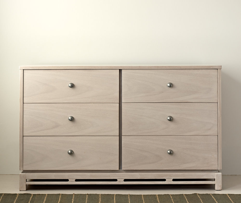 Bleached chest of drawers, round metallic pulls, C 1960, $4800