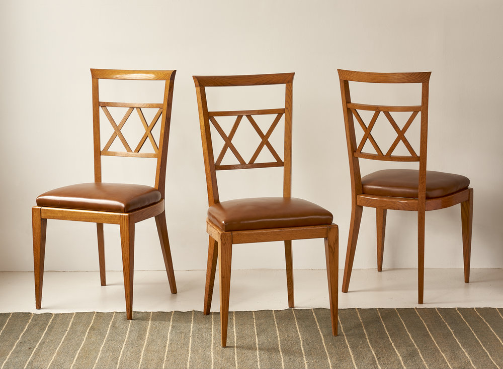 Set of 6 oak and leather dining chairs, French, c 1940, $5000