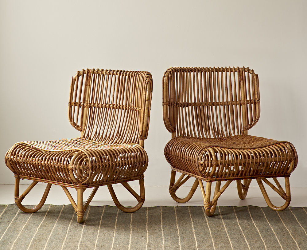 Pair of woven rattan lounge chairs, c 1940, $5000