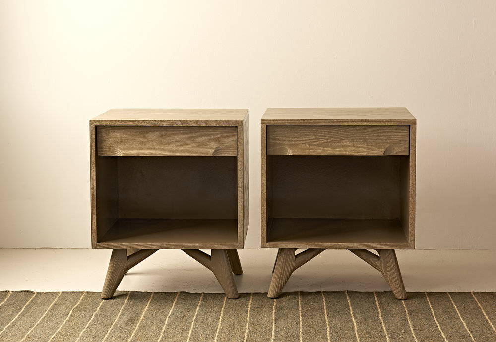 Pair of taupe cesused oak bedside tables, c 1940, $2800