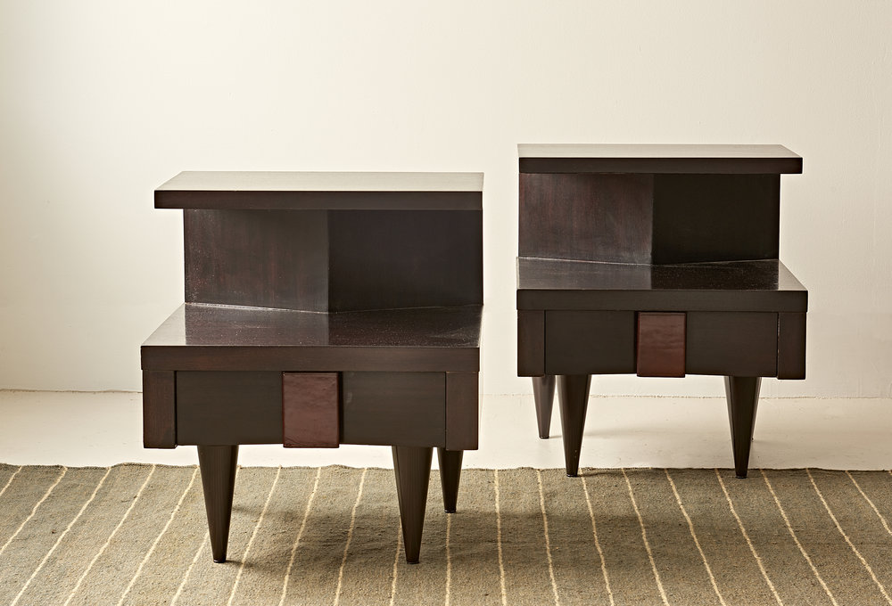 Pair, mahogany bedside tables with square leather pulls, c. 1950  $3800