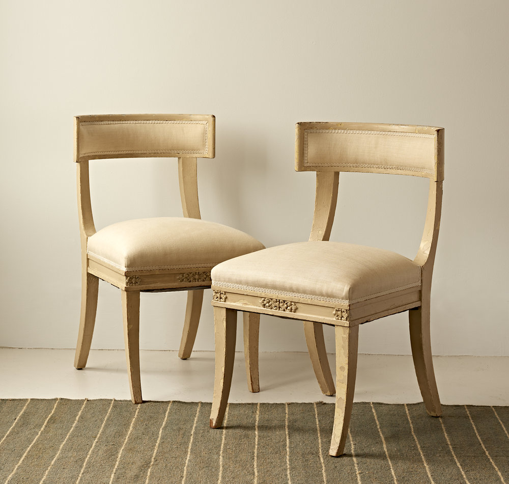 Pair of painted Swedish side chairs, $3600