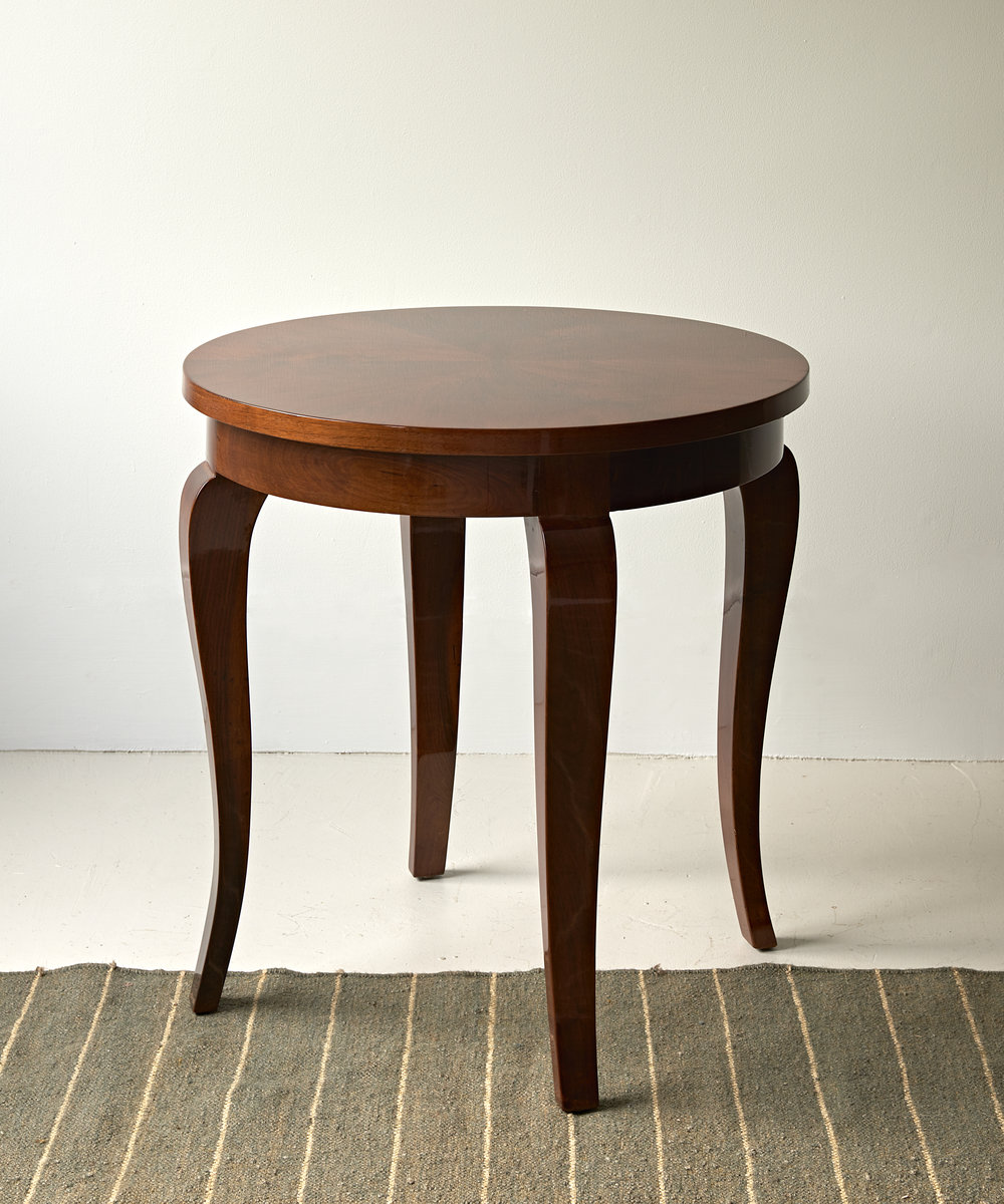 Lacquered walnut side table, French c. 1940  $3600