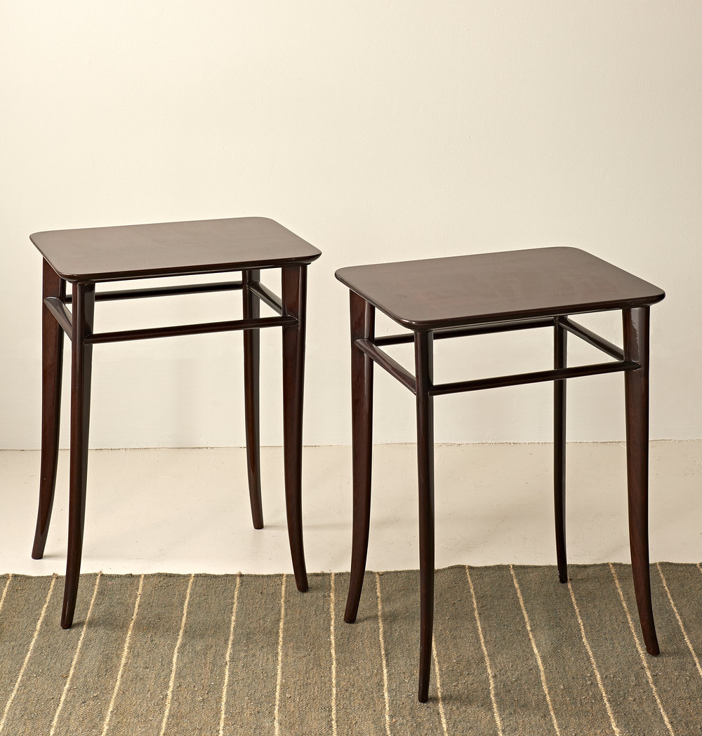 Pair of lacquered occasional table with saber legs by T.H. Robsjohn Gibbings, c. 1950  $4000