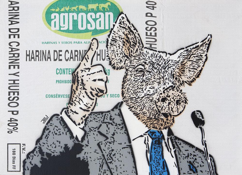 Cerdo (2018) - 65 x 90 cms - Stencil sobre costal sintético / Stencil on synthetic sack