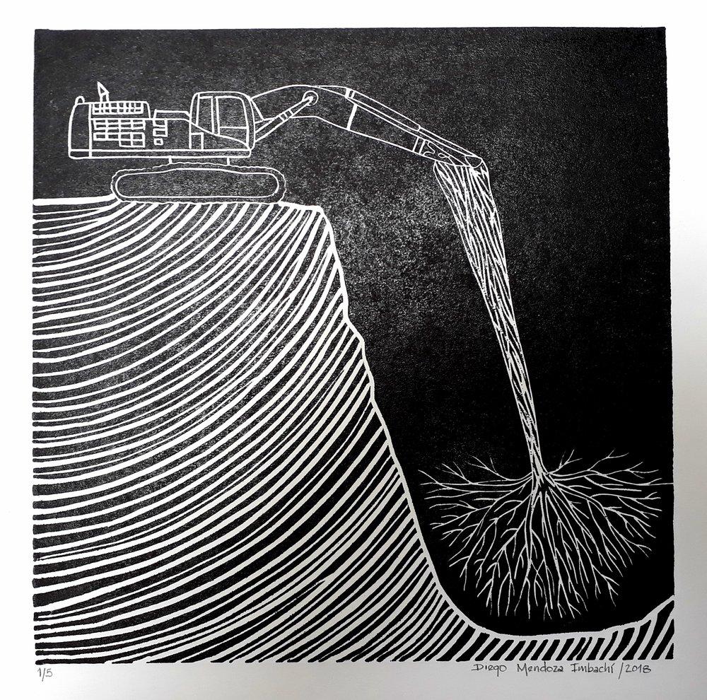 S.T (2018) - 35 x 35 cm - Grabado en linóleo, Serie de 5 / Lino cut engraving, Series of 5