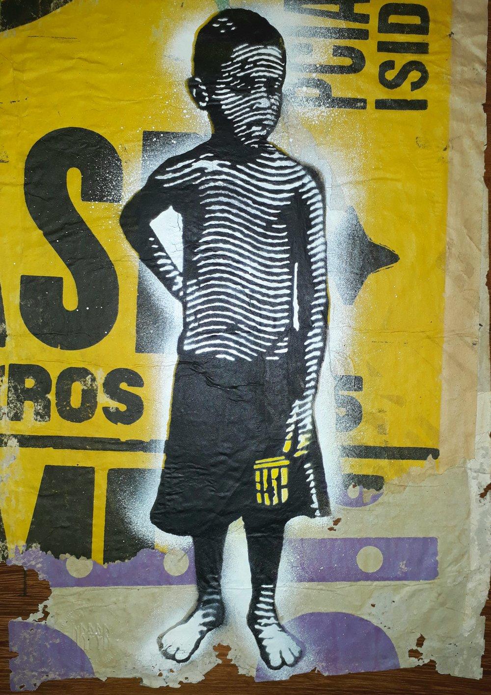 S.T (2018) - 41,5 x 30 cm - Stencil y pintura en aerosol sobre Cartel / Stencil and spray paint on found poster