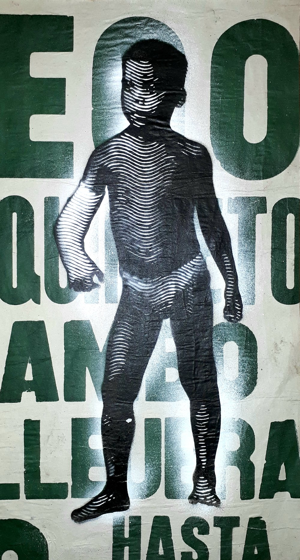 S.T (2018) - 29.5 x 21 cm - Stencil y pintura en aerosol sobre Cartel / Stencil and spray paint on found poster