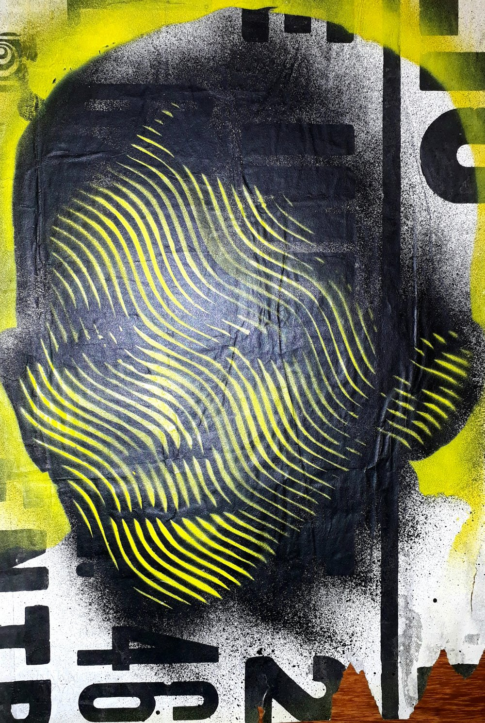 S.T (2018) - 34.5 x 24.5 cm - Stencil y pintura en aerosol sobre Cartel / Stencil and spray paint on found poster